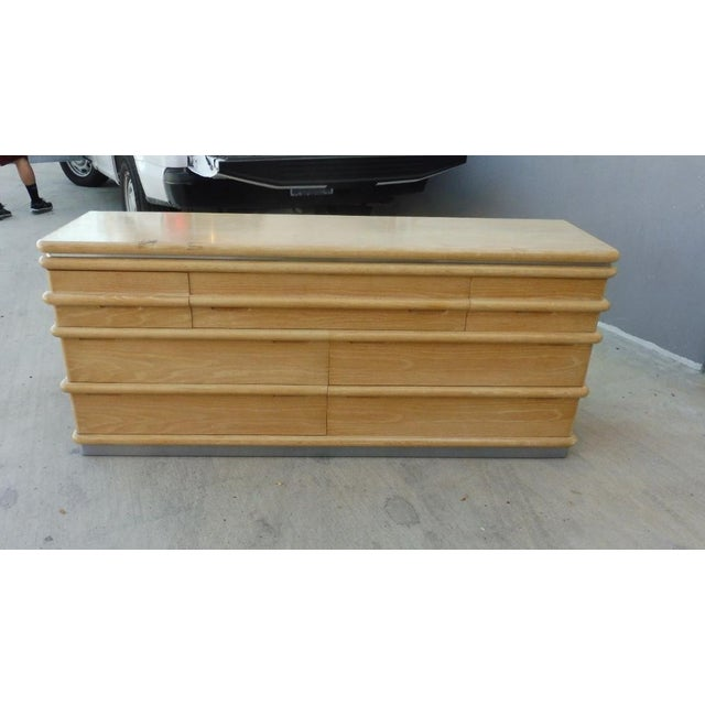 Jay Spectre for Century Furniture Limed Oak 7 Drawer Credenza of Chest For Sale - Image 10 of 10
