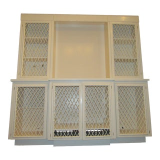 Ficks and Reed Trellis Breakfront, Vintage in Off White For Sale