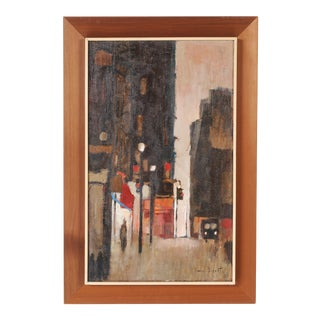 Mid-Century Framed Streetscape Painting For Sale