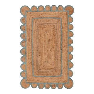 Scallop Jute Turquoise Blue Hand Made Rug - 2'x3' For Sale