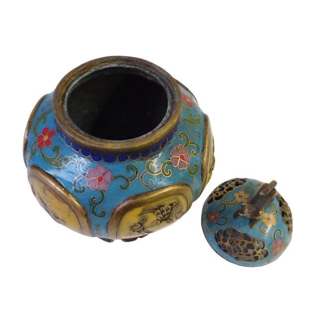 Vintage Chinese Metal Enamel Cloisonne Burner For Sale - Image 4 of 7