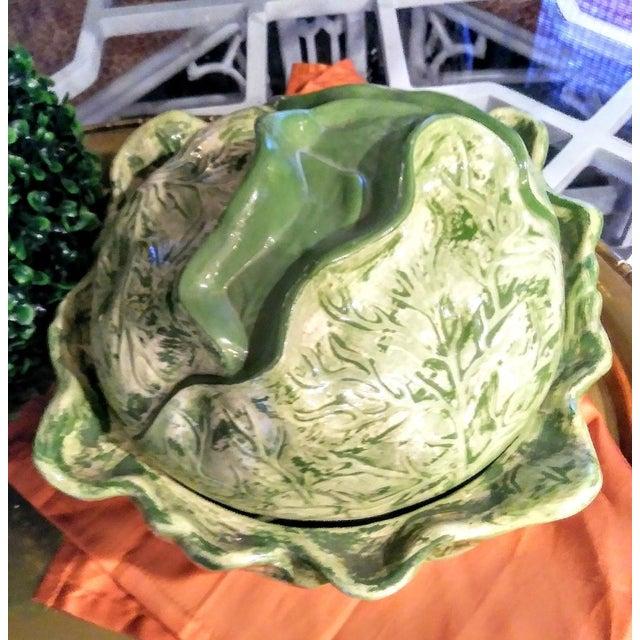 Regency Ceramic Large Cabbage Green Soup Tureen For Sale - Image 3 of 5