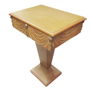 Art Deco Carved Wood Side Table or Lamp Table For Sale