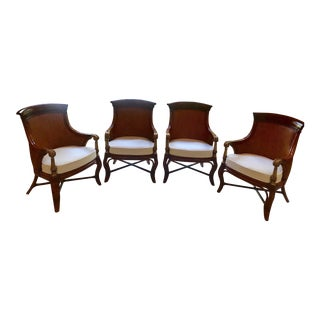 Drexel Heritage Rattan & Upholstered Bermuda Chairs - Set of 4 For Sale