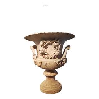 18th Century Vintage French Cast Iron Urn For Sale