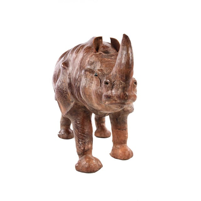 Vintage Leather Rhinoceros Sculpture For Sale - Image 9 of 9