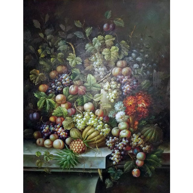 Fruit Still Life Oil Painting on Canvas by M. Picot For Sale In Dallas - Image 6 of 9