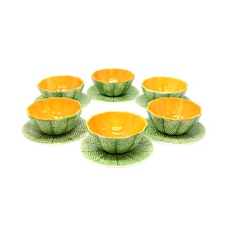 Vintage Cantaloupe Bowls With Plates - Set of 6