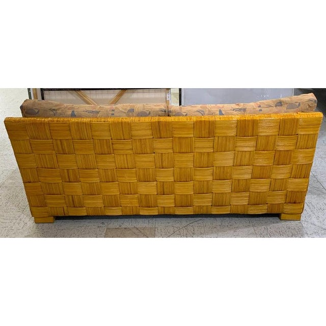 "Modern Donghia Woven Rattan ""Block Island"" Sofa by John Hutton For Sale - Image 3 of 8"