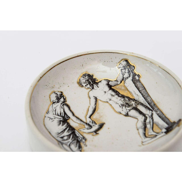 Piero Fornasetti Italian Signed Fornasetti Porcelain/Gold Period Round Bowl/Dish For Sale - Image 4 of 11