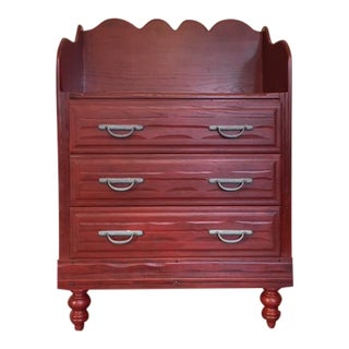 1950s Boho Chic Brick Red 3-Drawer Dresser For Sale