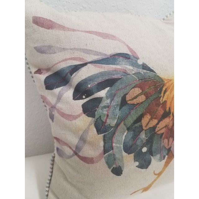 Orange Rooster Pillow -Made in Wales, United Kingdom For Sale - Image 8 of 11