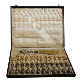 19th Century German Silver and Parcel Fish Service - 15 Piece Set For Sale