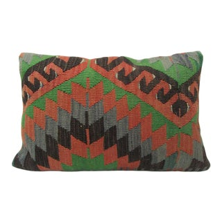 Green / Rust Vintage Kilim Pillow For Sale