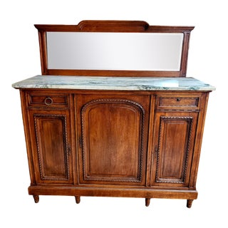 Antique French Server With White Marble Top and Mirrored Hutch For Sale