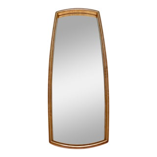 1960s Mid-Century Modern Burl Wood & Brass Wall Mirror For Sale