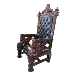 Vintage Mahogany & Leather Oversized Kings Throne Chair For Sale