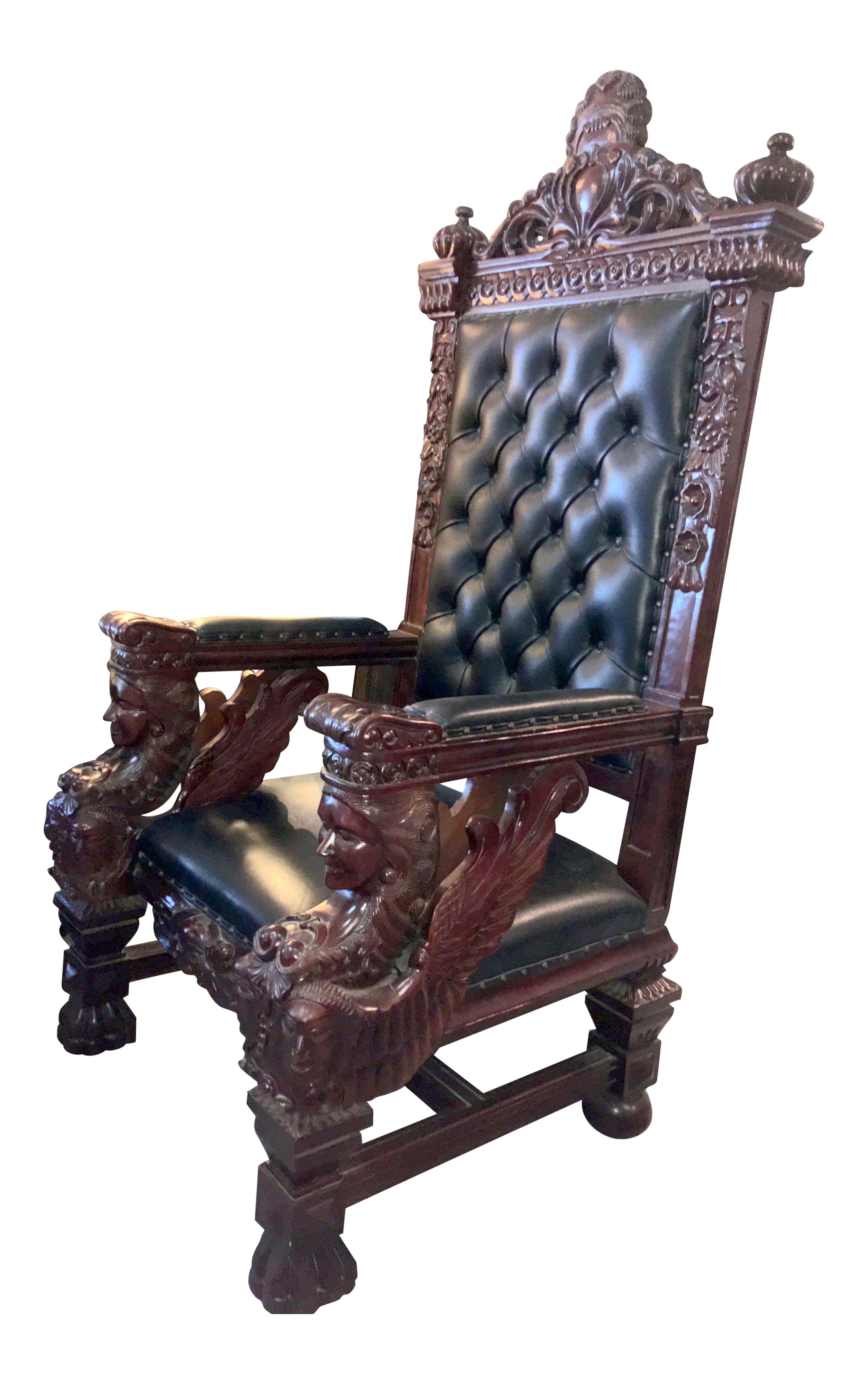 Vintage Mahogany U0026 Leather Oversized Kings Throne Chair