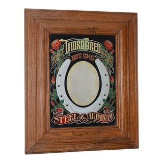 "The Hensley Company ""ThoroBred Racing Plates"" Mirrored Glass Sign in Oak Frame C.1979"