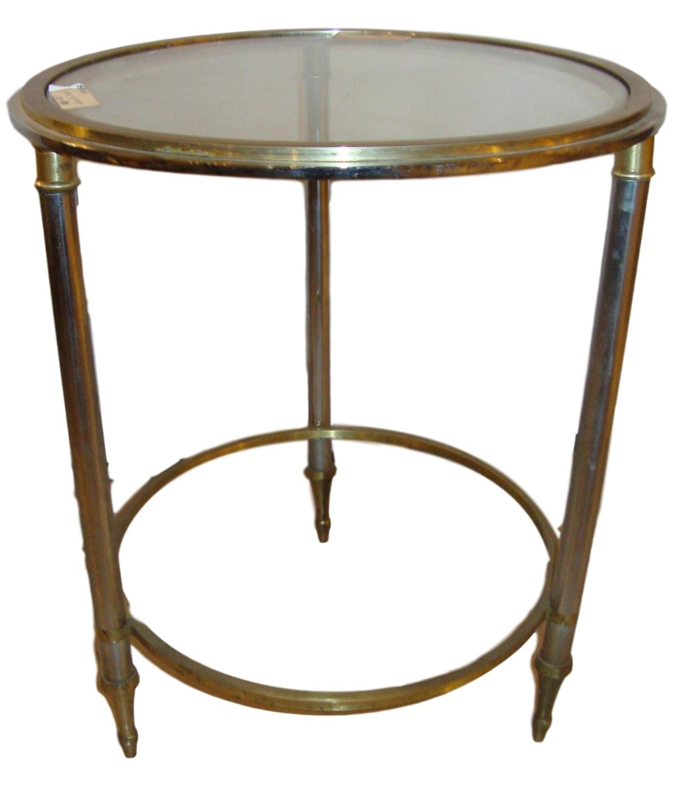 Picture of: Hollywood Regency Style Bronze Bamboo Bouilliotte Glass Top End Or Side Table Chairish