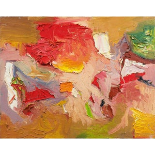 'Abstract in Crimson and Ochre' by Shickell, 20th Century American School For Sale