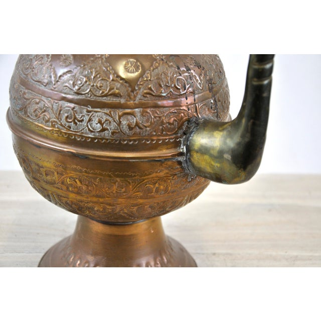 Antique 19th C. Middle Eastern Tinned Copper Ewer For Sale - Image 9 of 11