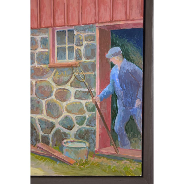"""1990s Randall Berndt """"The Bachelor Farmer"""" Painting on Board For Sale - Image 5 of 9"""
