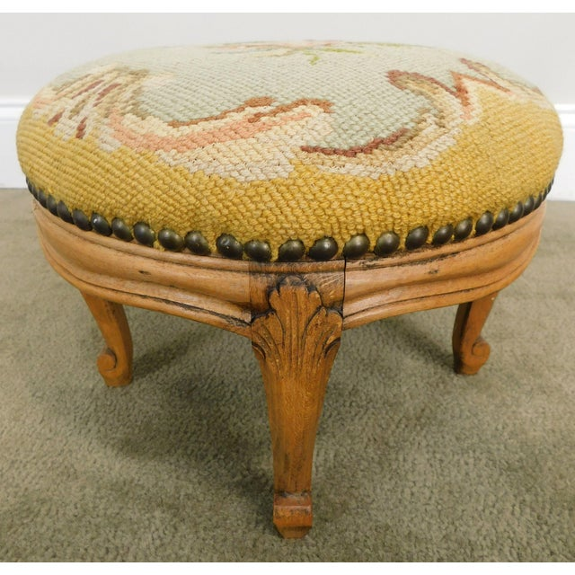 French Louis XV Style Antique Small Needlepoint Footstool For Sale - Image 9 of 13