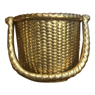 Brass Nantucket Basket Door Knocker For Sale