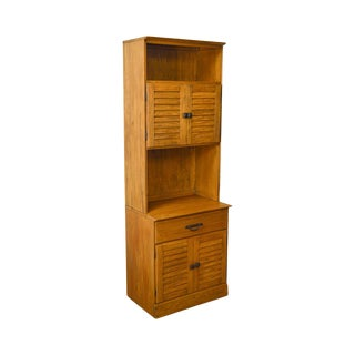 Brandt Ranch Oak Tall Narrow Bookcase Cabinet w/ Drawer & Doors For Sale