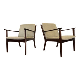 Vintage Mid Century Modern Lounge Chairs by Ole Wanscher for Poul Jeppesen - a Pair For Sale