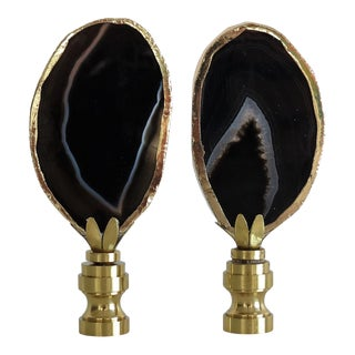 Black Agate Lamp Finials in 14 Kt Gold by C. Damien Fox For Sale