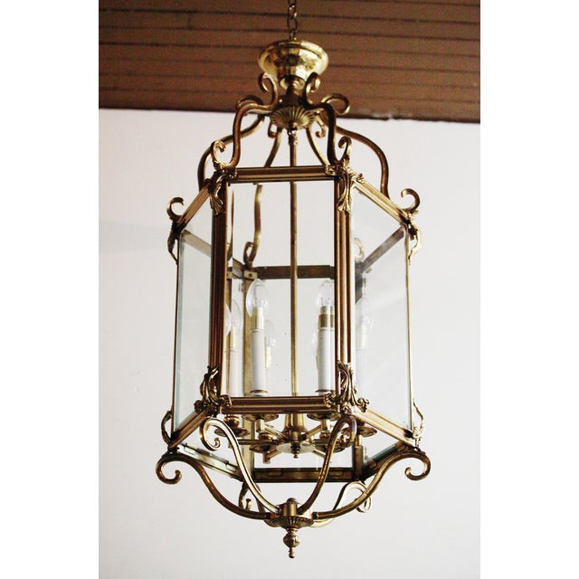 Large, 6 light, vintage brass and glass hexagonal lantern (ceiling light). Made in the late 20th century.
