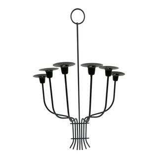 Mid Century Tommie Parzinger Black Metal Candelabra Wall Sconce For Sale