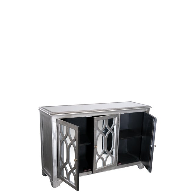 """3 doors buffet with a shelf in the middle. Shelf measurements: 12""""h x13.5""""dx 46.5"""" w each NO CUSTOM ORDERS. Sold as it is."""