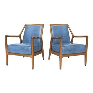 Pair of Italian Modern Walnut Armchairs, Carlo de Carli For Sale