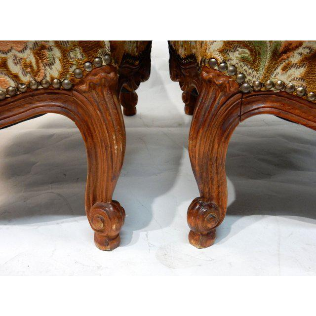 Contemporary Traditional French Ottomans With Rich Fabric Upholstery - a Pair For Sale - Image 9 of 11