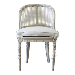 French Country Cane Back Vanity Chair For Sale