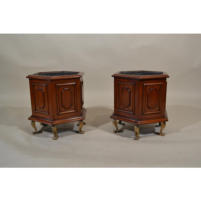 Pair of Antique Mahogany Jardinieres With Original Iners For Sale - Image 4 of 4
