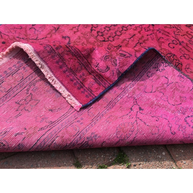 Hot Pink Overdyed Runner Rug - Image 9 of 9