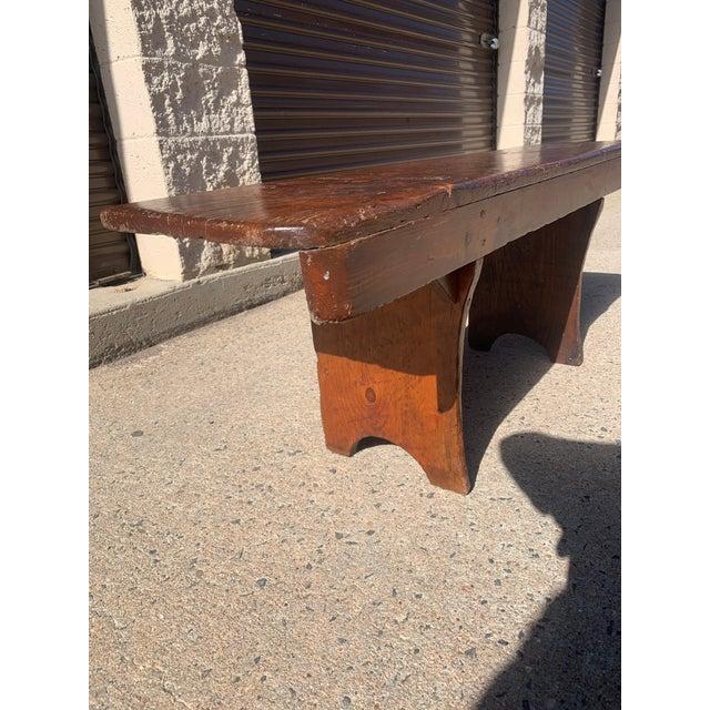 1920s Vintage Primitive Brown Pine Bench For Sale - Image 9 of 13