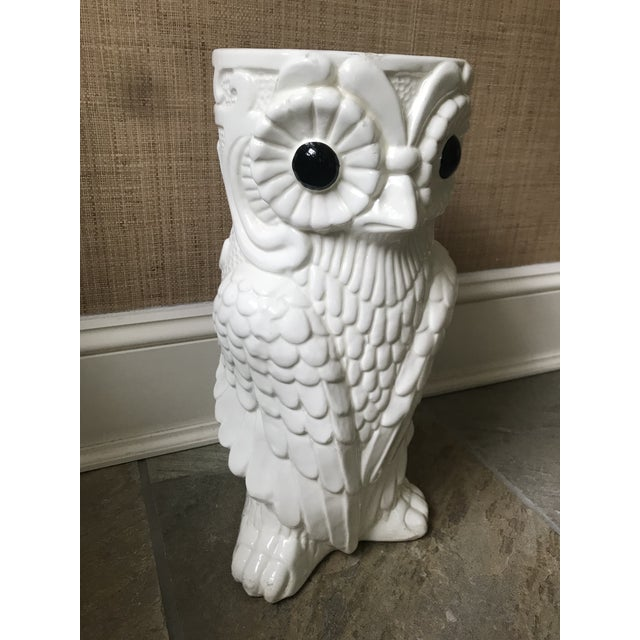White Mid-Century Ceramic Owl Umbrella Holder For Sale - Image 8 of 13