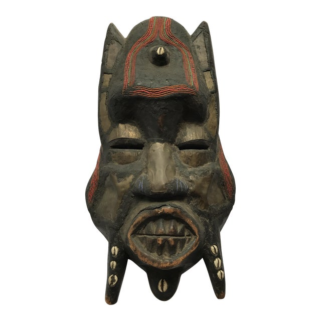 Large Metal Beads & Shells African Wooden Mask - Image 1 of 11