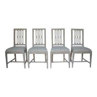 Set of Four 18th Century Swedish Gustavian Square Back Chairs in Original Paint