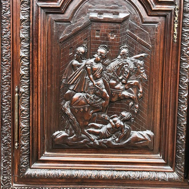 Brown 17th Century Renaissance Hand Carved Wood Armoire of Knights and Hunting Scene France For Sale - Image 8 of 12