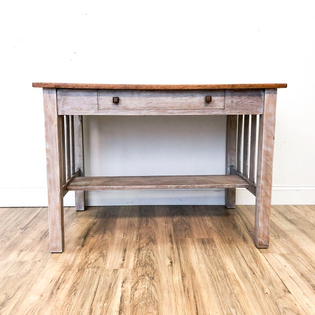 1900s Mission Solid Oak Writing Desk For Sale - Image 13 of 13