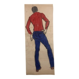 1970s Standing Male Figure Study From the Rear Painting For Sale