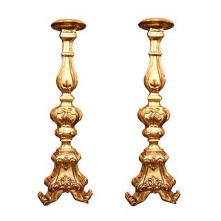 19th Century French Gilded Altar Sticks - a Pair For Sale