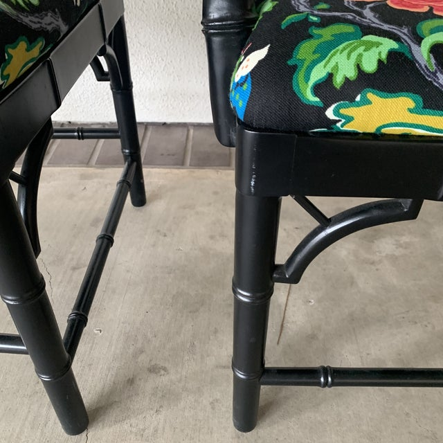 Black Bamboo Chairs- a Pair For Sale - Image 9 of 13