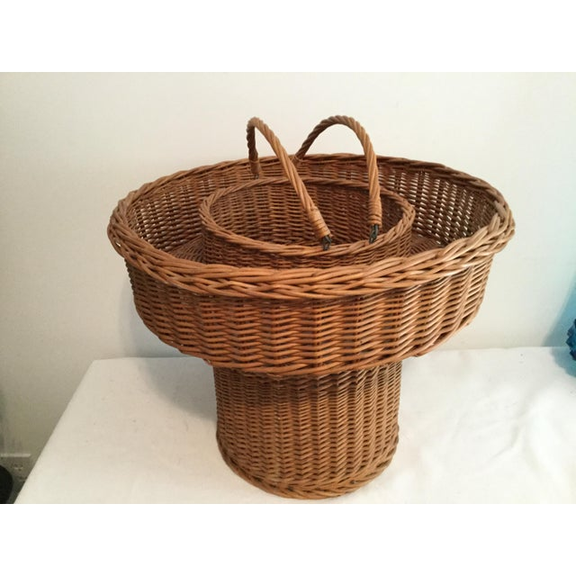 Rustic Basket With a Wooden Bottom For Sale - Image 3 of 12